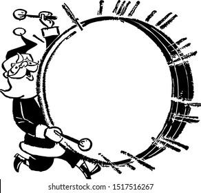Santa With Bass Drum - Retro Clipart Ad Frame