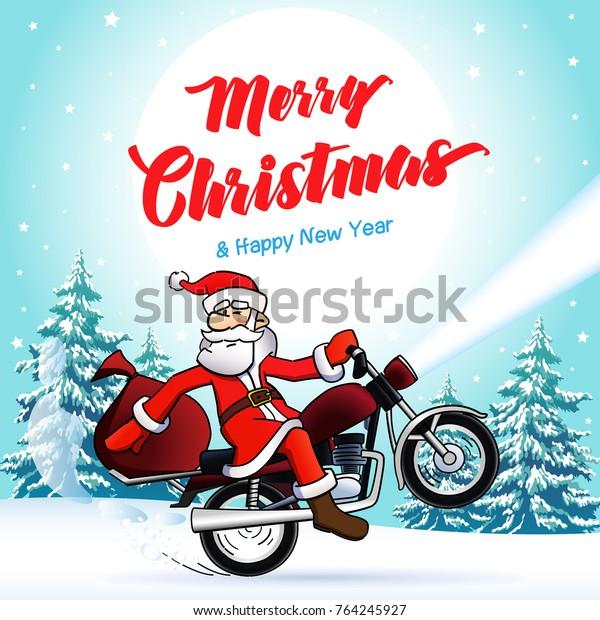 Biker Christmas.Santa Biker Merry Christmas New Year Stock Vector Royalty