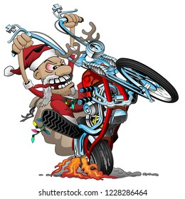 Santa biker on an American style chopper motorcycle, popping a wheelie, vector cartoon Illustration