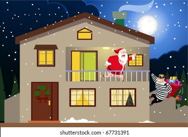 Santa & The Burglar-vector