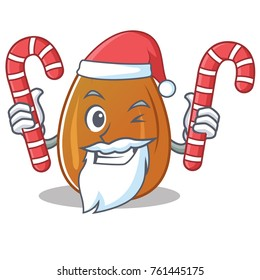 Santa with candy almond nut character cartoon