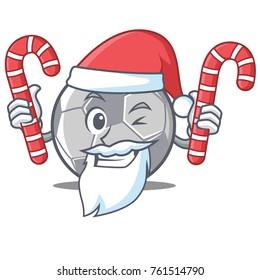 Santa with candy football character cartoon style