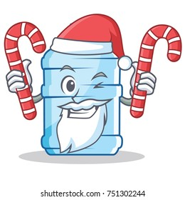 Santa with candy gallon character cartoon style