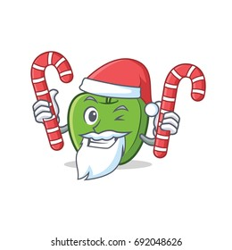 Santa with candy green apple character cartoon