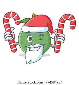 Santa with candy guava mascot cartoon style