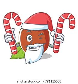 Santa with candy hazelnut mascot cartoon style