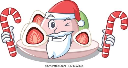 Santa with candy ichigo daifuku served on mascot bowl