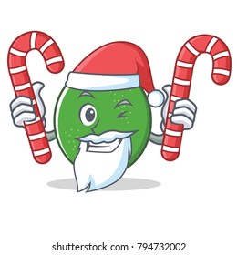 Santa with candy lime mascot cartoon style