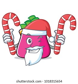 Santa with candy purse character cartoon style