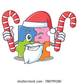 Santa with candy puzzle mascot cartoon style