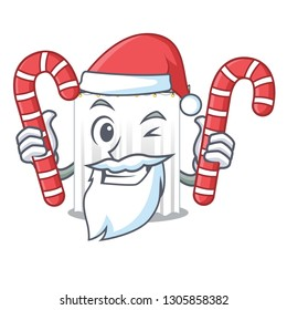 Santa with candy shower curtains isolated with the cartoons