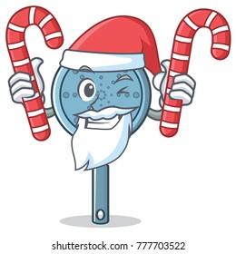 Santa with candy skimmer utensil character cartoon