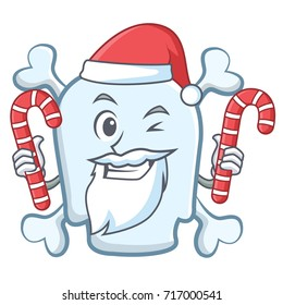 Santa with candy skull character cartoon style