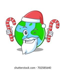 Santa with candy world globe character cartoon