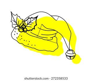 Santa Cap with Holy Leaf Clipart