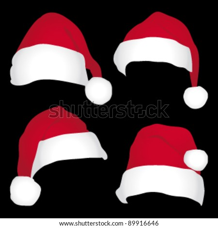 3a1b46b399100 Santa Caps Isolated On Black Background Stock Vector (Royalty Free ...