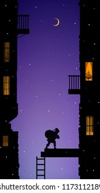 Santa carries the heavy present bag to the old city house with balconies at late Christmas evening, Christmas adventure of Santa, silhouette, vector,