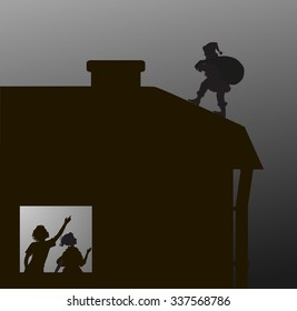 Santa carries the heavy present  bag on the roof to the chimney and an two children look at window,  Look!  There is Santa!, vector Christmas silhouette