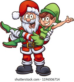 Santa carrying a female elf. Vector clip art illustration with simple gradients. All in a single layer.