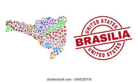 Santa Catarina State map mosaic and textured United States Brasilia red circle stamp seal. United States Brasilia seal uses vector lines and arcs. Santa Catarina State map mosaic contains gears,