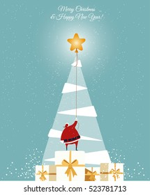 Santa catch the star on the white Christmas tree. Christmas greeting Card. vector, blue background, Merry Christmas greeting card, cartoon style