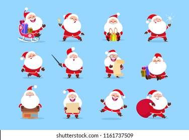 Santa character. Funny cartoon cute santa claus characters with different emotions, vector element for christmas greeting card. Illustration of xmas character joy and happy