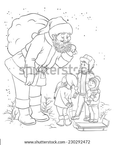 santa with children coloring page also available colored version