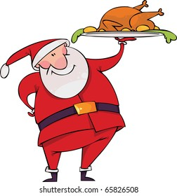 Santa with Christmas turkey