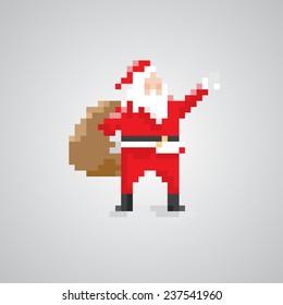 Santa claus 8-bit pixel style.
