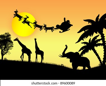 Santa Claus in Africa - silhouettes of wild animals and flying Santa on sunset, vector background