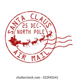 Santa Claus air mail grunge rubber stamp on white background, vector illustration