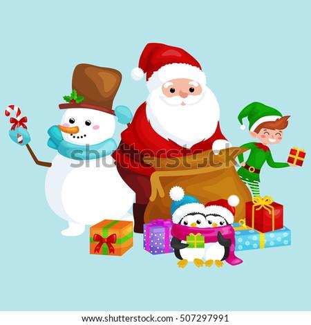 f1479dde4b5ac Santa Claus Bag Full Gifts Snowman Stock Vector (Royalty Free ...