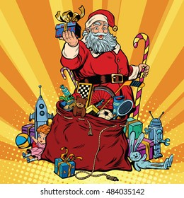 Santa Claus with bag of gifts. Christmas and New year, pop art retro vector illustration
