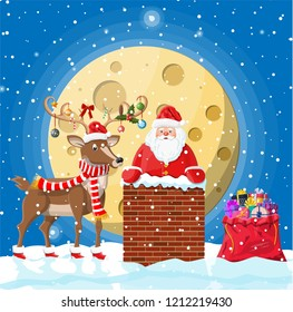 Santa claus with bag with gifts in house chimney, gift boxes in snow, reindeer. Happy new year decoration. Merry christmas eve holiday. New year and xmas celebration. Vector illustration in flat style