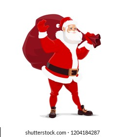eca8b4ca474a7 Santa Claus with bag of gifts. Vector Christmas symbolic fairy character.  Elderly man with