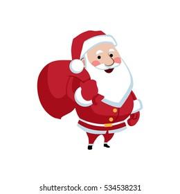 Santa Claus with a bag. Vector illustration