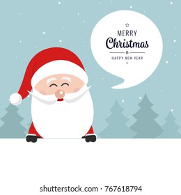 santa claus banner merry christmas greeting speech bubble text winter landscape background