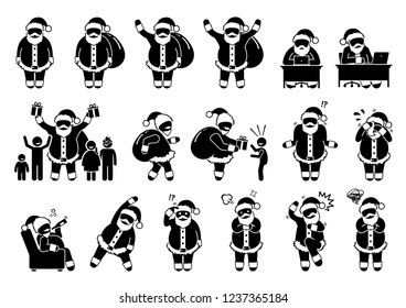 Santa Claus basic postures and feelings pictograms. Stick figure depict various poses and emotions of Santa Claus during Christmas. Icons also include using computer and giving gift to children.