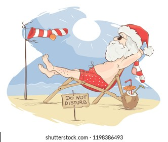 Santa Claus beach vacation / Funny Christmas card, do not disturb - Santa has a rest, vector illustration