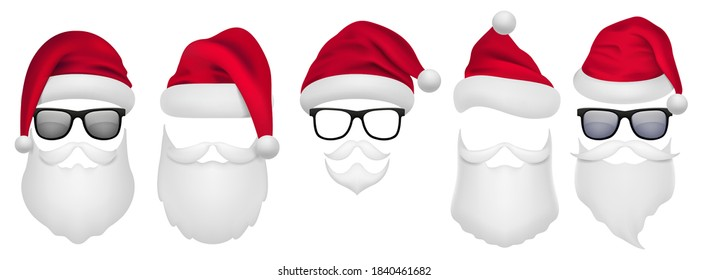 Santa Claus beard. Christmas character template. Winter red hat, glasses and white facial hair and mustaches. Xmas grandfather masks. Photo redactor or camera filter mockup, vector web sticker set