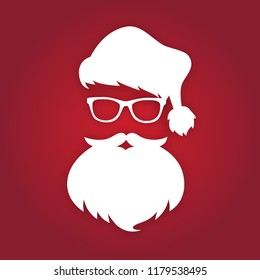 Santa Claus with beard and glasses. White silhouette. Vector illustration