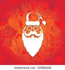 Santa claus with beard vector illustration .Christmas hipster poster for party or greeting card. Santa Hipster Claus. vector merry christmas art design background.