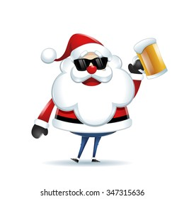 Santa Claus with a beer celebrating