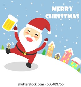 Santa Claus with beer,Merry Christmas.