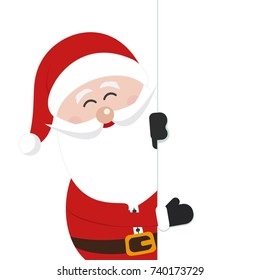 santa claus behind banner sign isolated white background
