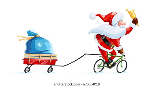 Santa claus with bell at bicycle. Christmas cartoon character. Old-man drive cycle to new year celebration. Winter holiday. Gift sack on cart. Isolated white background. Vector illustration.