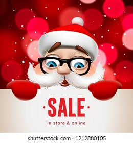 Santa Claus with big signboard. Christmas Sale lettering design, vector illustration.