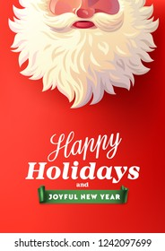 Santa Claus with big signboard. Happy Holidays and Joyful New Year vector text for Holiday invitations and Greeting cards.
