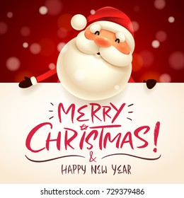 Santa Claus with big signboard. Merry Christmas calligraphy lettering design. Creative typography for holiday greeting.