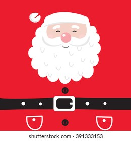 Santa Claus with black belt on red background